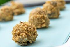 Закрытый вверх теста печенья на листе выпечки, коричневые фундуки, rais стоковое фото