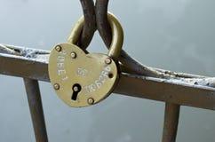 Закрытый замок на мосте Стоковое фото RF