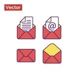 Закрытый конверт, раскрывает и помечает буквами Стиль красного цвета Стоковое фото RF