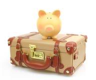 Закрытый коричневый чемодан Стоковая Фотография RF