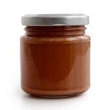 Закрытый стеклянный опарник сальсы перца коричневого томата и красных чилей  Стоковые Изображения RF