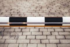 Закрытый черно-белый барьер дороги, конец вверх Стоковое фото RF