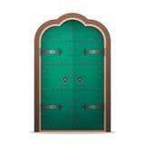 Закрыл железную дверь в плоском стиле Изолированная иллюстрация вектора Стоковые Фотографии RF