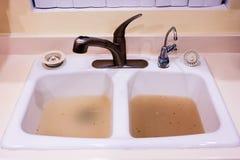 Закупоренная кухонная раковина Стоковое Фото