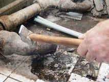 Закупоренная старая труба canalization стоковое изображение