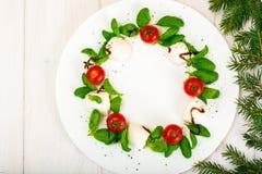 Закуска caprese салата венка рождества праздничная на белизне plat Стоковое Изображение RF