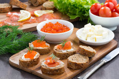 Закуски - здравица с посоленной salmon и красной икрой Стоковая Фотография RF