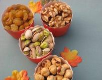 Закуски партии падения для здорового образа жизни: золотые изюминки, грецкие орехи, фисташки, фундуки Стоковые Изображения