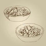 Закуски салата холодные, огурцы, томаты, сало, зеленые цвета, специи Стоковая Фотография