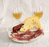 Закуски с белым вином Стоковые Фото