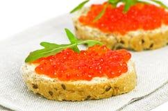 2 закуски с красной икрой Стоковые Фото