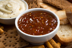 Закуски хлеба и соусы, крупный план Стоковая Фотография RF