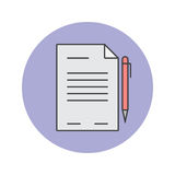 Заключите контракт тонкую линию значок, документ заполненная беда логотипа вектора плана иллюстрация штока