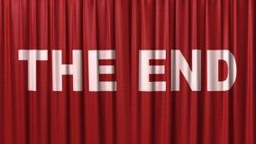 Заключительный красный занавес с названием  бесплатная иллюстрация