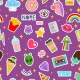 Залатайте значок или вышивку вектора стикеров липкие латая для комплекта иллюстрации заплатки бляшечной радуги сердца шаржа Стоковая Фотография