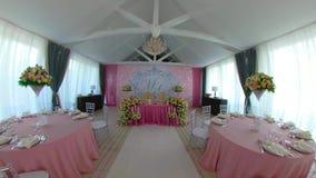 Зала банкета свадьбы сток-видео