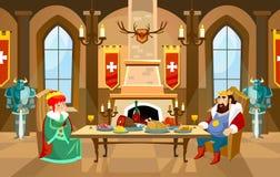Зала замка шаржа с королем и ферзем Королевский обедающий в переднем o иллюстрация вектора