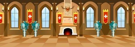 Зала замка шаржа с рыцарями, камином и окнами в большом r бесплатная иллюстрация