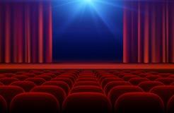 Зала кино или театра с этапом, красным занавесом и местами vector иллюстрация бесплатная иллюстрация