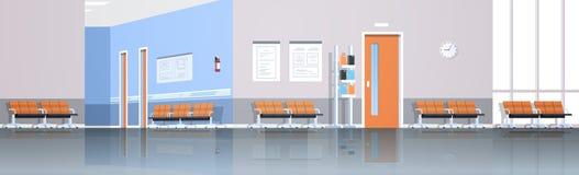 Зала коридора больницы ждать со стульями доски информации и двери не опорожняют никакое panorana клиники людей внутреннее плоско иллюстрация вектора