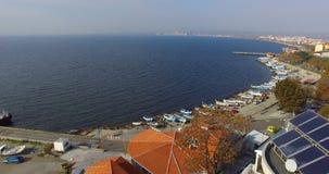 Залив от высоты полета ` s птицы, Болгария Pomorie Стоковые Изображения RF