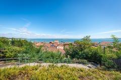 Залив Arcachon, Франция, взгляд над деревней устрицы Lherbe Стоковые Изображения