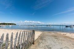 Залив Arcachon, Франция, взгляд над заливом на лете Стоковые Изображения