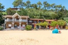 Залив Arcachon, Франция, дома на пляже стоковые изображения