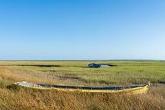 Залив Arcachon, Франция Луга соли Lege и Ares во время отлива стоковое фото rf