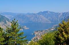 Залив Kotor от горы Lovcen стоковые изображения