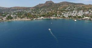 Залив Torba и поставленные на якорь яхты Bodrum Турция сток-видео
