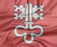 Залом предпосылки флага Нидвальдена, кантон конфедерации Швейцарии Белый ключ на красном цвете иллюстрация штока