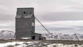 Залуживайте здание силосохранилища в сельском Айдахо в зиме стоковые изображения rf