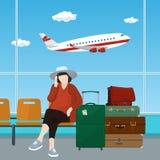 Зал ожидания на авиапорте с пассажиром Стоковые Фотографии RF