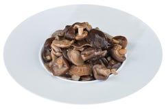 Замаринованные грибы в белой плите Стоковое Фото