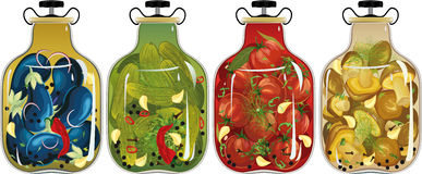 Замаринованные овощи и грибы бесплатная иллюстрация