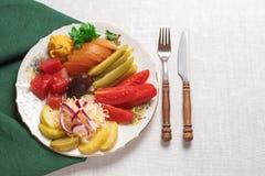 Замаринованные овощи - огурец, томат, перец, капуста сохраненная еда Стоковое Изображение