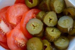 Замаринованные огурец и томаты Стоковые Изображения RF