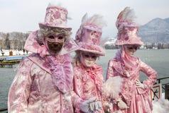 Замаскированная группа - масленица 2013 Анси венецианская стоковые фото