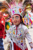 Замаскированный танцор Virgen del Кармен Pisac Cuzco Перу ребенк Стоковое Изображение RF
