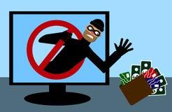 Замаскированный человек, похититель хотеть деньги взятия и кредитную карточку Безопасность интернета также вектор иллюстрации при иллюстрация штока
