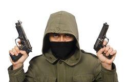 Замаскированный человек в уголовной концепции на белизне стоковое изображение