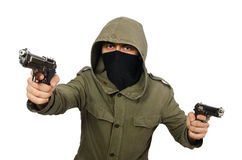 Замаскированный человек в уголовной концепции на белизне стоковые изображения rf