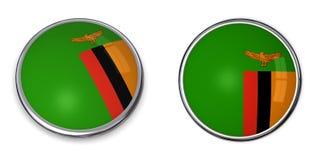 Замбия кнопки знамени Стоковая Фотография