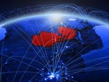 Замбия на голубой цифровой земле планеты с международной сетью представляя сообщение, перемещение и соединения иллюстрация 3d стоковые изображения rf