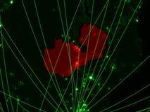 Замбия на зеленой карте стоковое фото rf