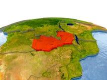 Замбия на модели земли стоковое фото