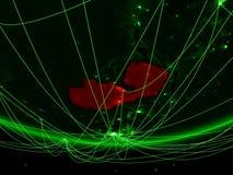 Замбия от космоса с сетью стоковые изображения rf
