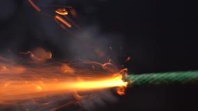 Замедленное движение гореть зеленый фитиль бомбы Время бежит вне сток-видео