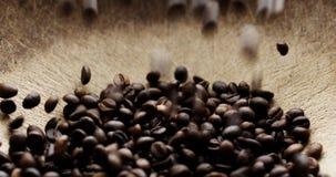 Замедленное движение снятое кофейных зерен сток-видео